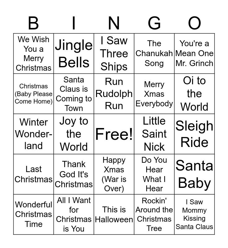 Holiday Spirit Bingo Card