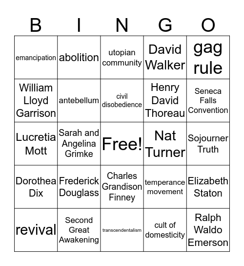 Reform Movements Bingo Card
