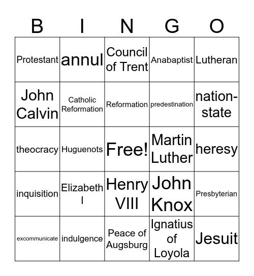 Reform Movements Bingo Card