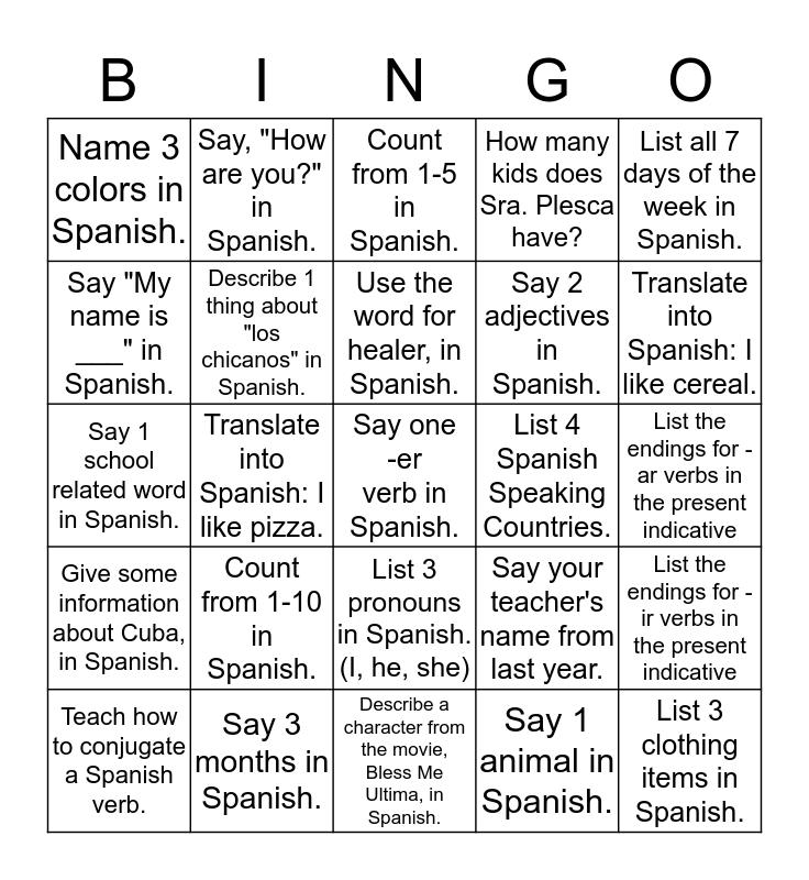 Repaso y más Bingo Card