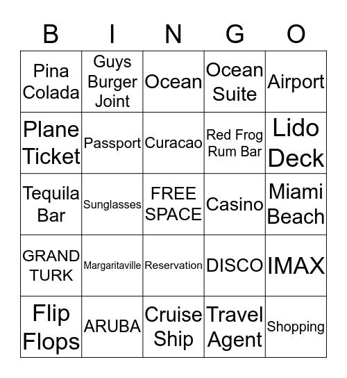 Carnival Horizon Cruise Bingo Card
