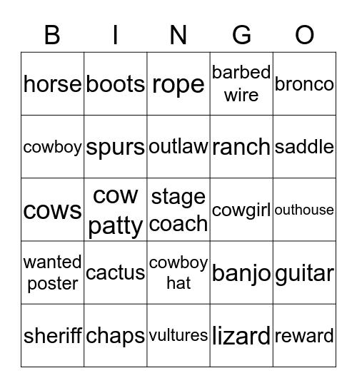 Wild West Bingo Card