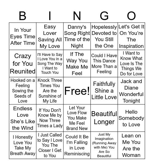 70's and 80's Love Songs Bingo Card