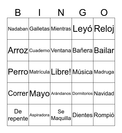 Spanish Club Bingo Card