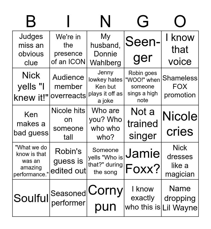 Masked Singer Bingo Card
