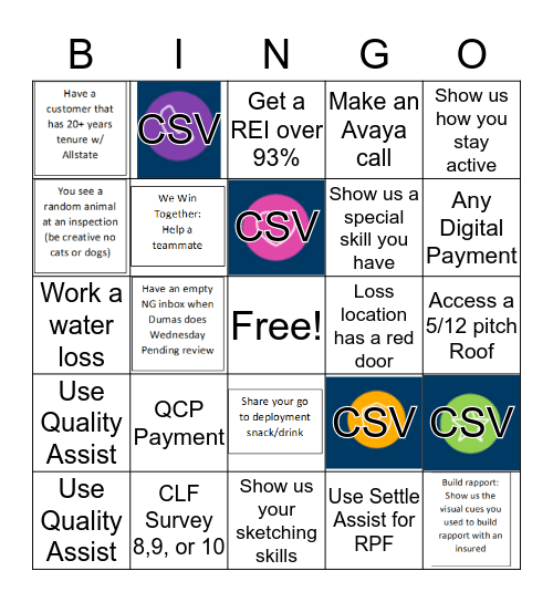 207 Bingo Card