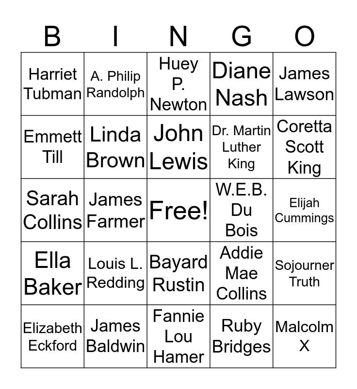 Black History Trivia Bingo Card