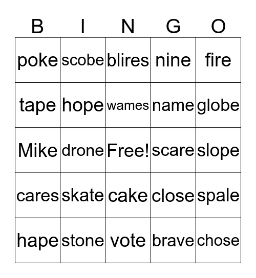 V-E Bingo Card