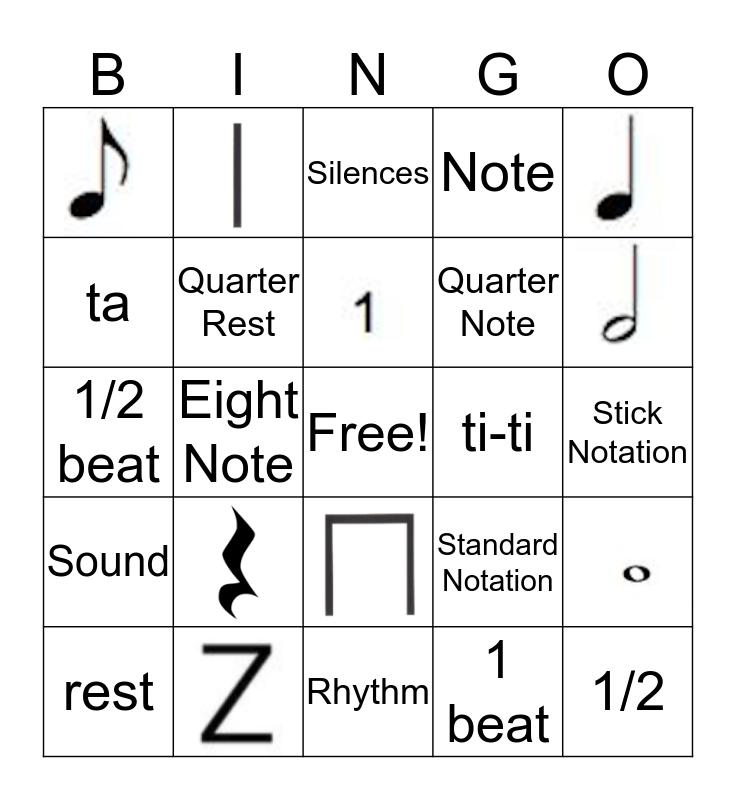 Rhythm Bingo and Note Values Bingo Card