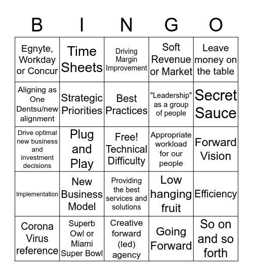 MKTG Lingo Bingo Card