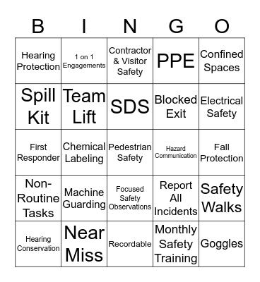Safety Bingo - 3/20 Bingo Card
