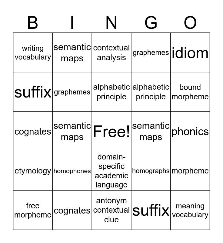 RICA Vocabulary Bingo Card