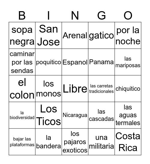 Costa Rico Bingo Card
