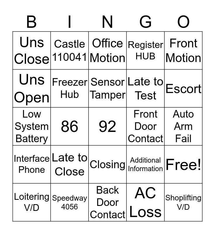 Grave Shift Bingo Card