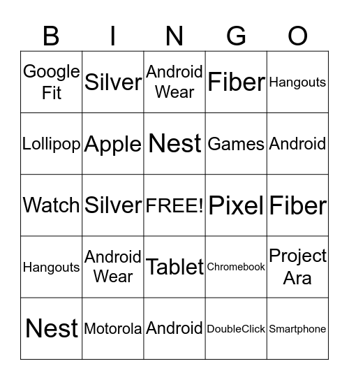 Google I/O Bingo Card