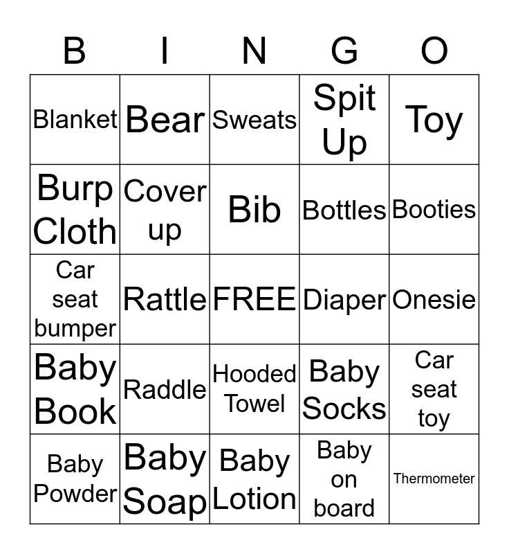BABY SHOWER BINGO Card