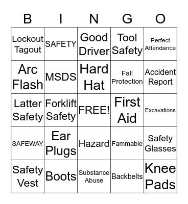 Safety Bingo Game Bingo Card