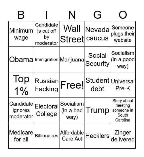 Democratic Debate Bingo (2/25/20) Bingo Card