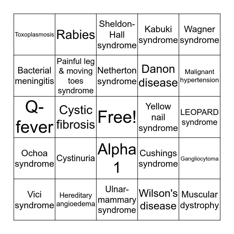 Rare Disease Day 2020 Bingo Card