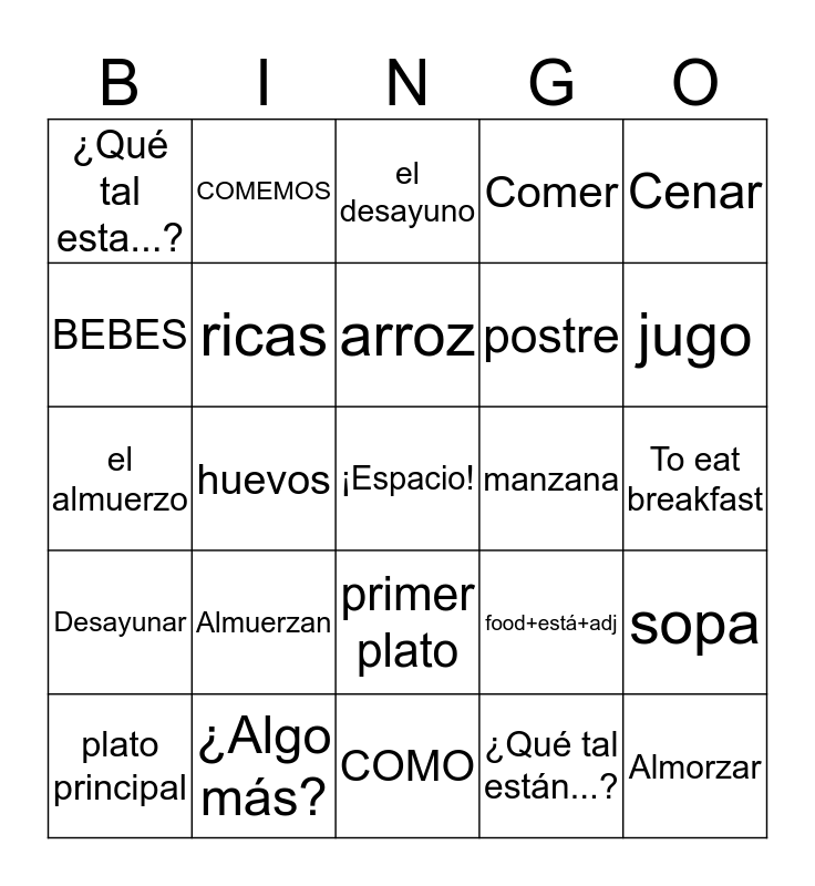 2B Review Bingo Card