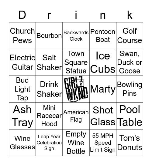 Girlz Weekend Drinko Bingo Game Bingo Card