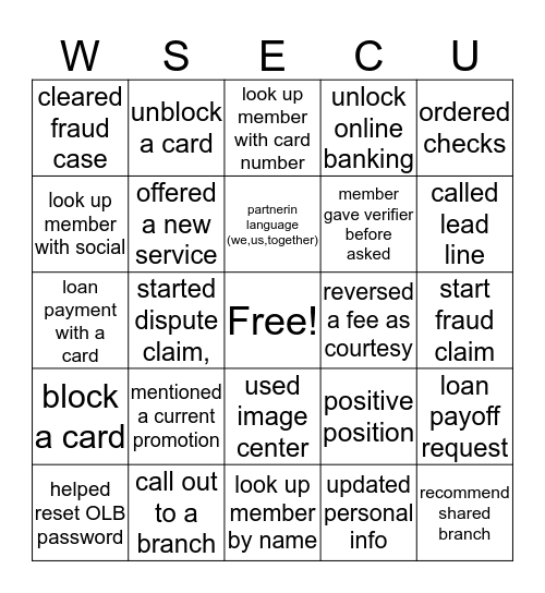 WSECU-OP BINGO Card