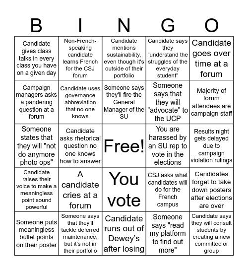 2020 UASU Elections Bingo!!! Bingo Card
