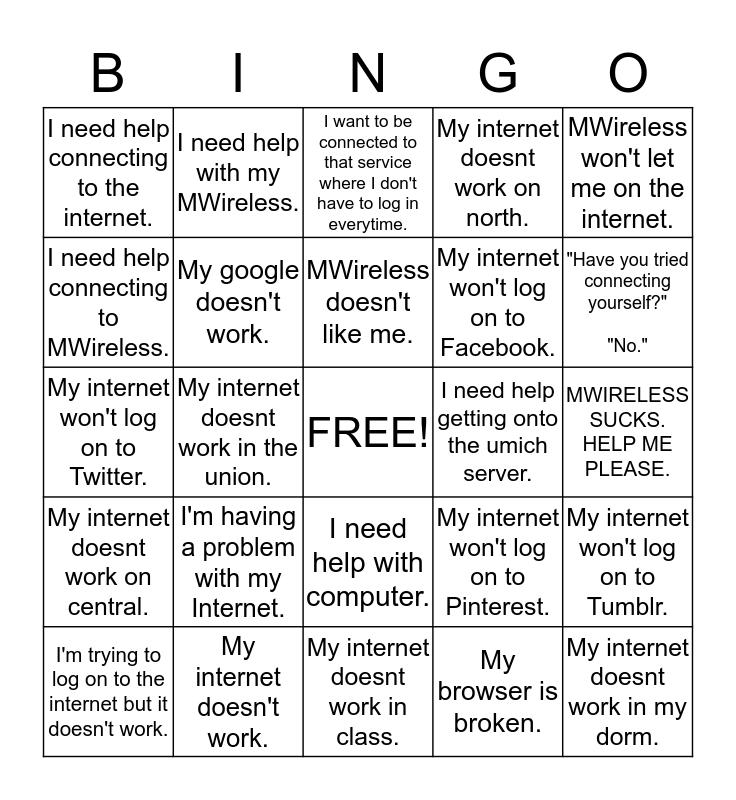 Welcome Week Repair Bingo Card