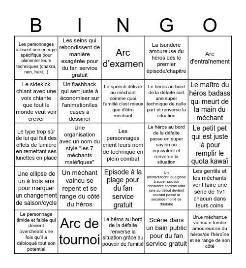 Shonen Bingo Card