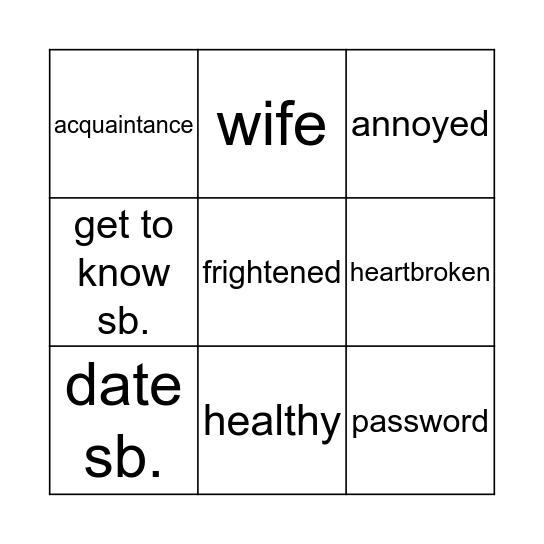 Unit 2 Vocab Bingo Card