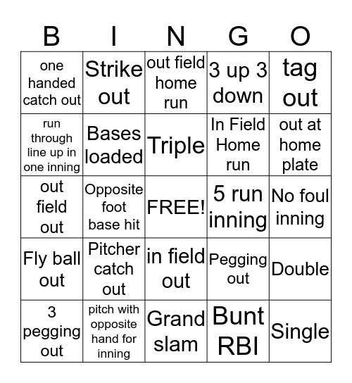 Kickball Bingo! Bingo Card
