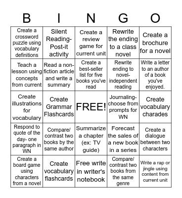 Anchor Activities Bingo Card