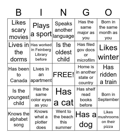 GET TO KNOW YOU AT FEINBERG LIBRARY Bingo Card