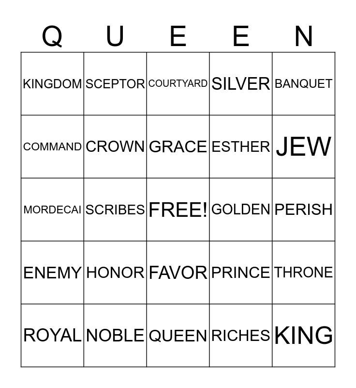QUEEN ESTHER Bingo Card