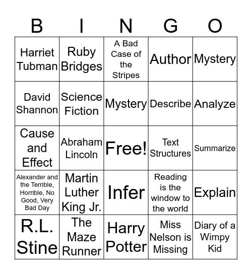 Nevada Reading Week Bingo Card
