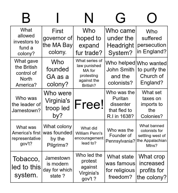 American Beg Bingo Card