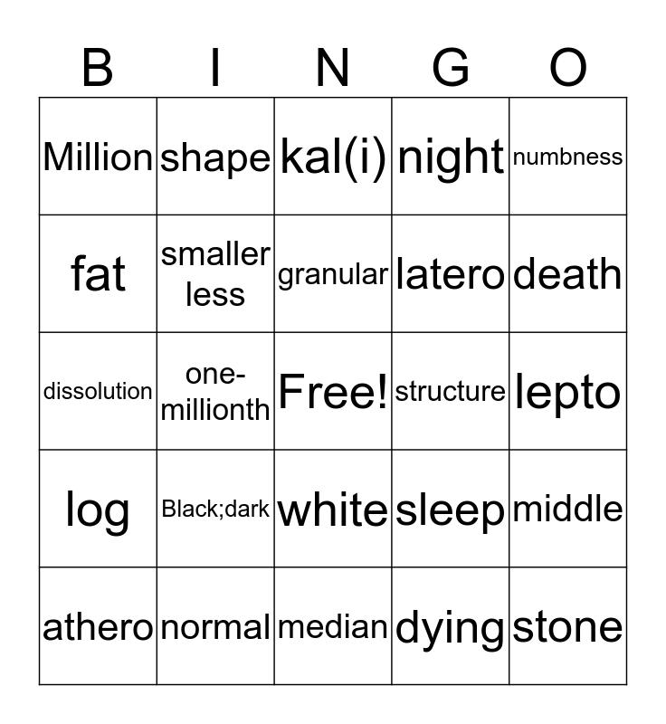 Medical Terminology Bingo  Bingo Card