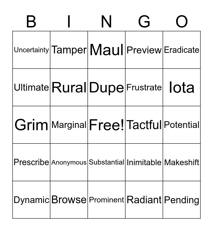 Exam Review Bingo Card