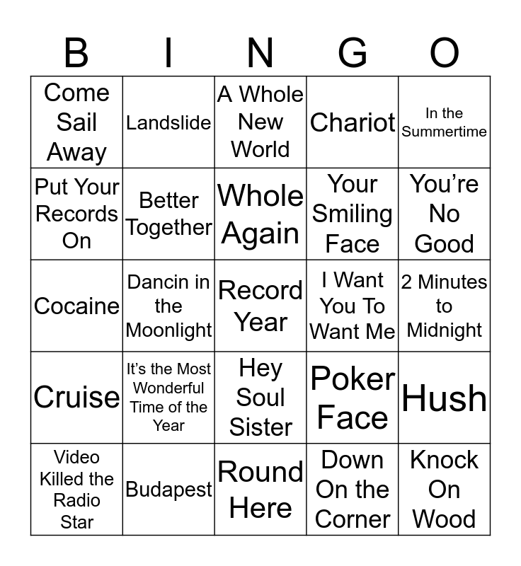 Music Bingo 58-7 Bingo Card
