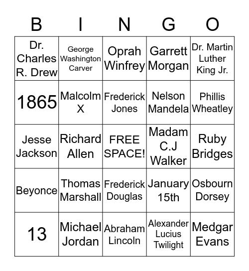 Oceanside Black History Month Bingo! Bingo Card