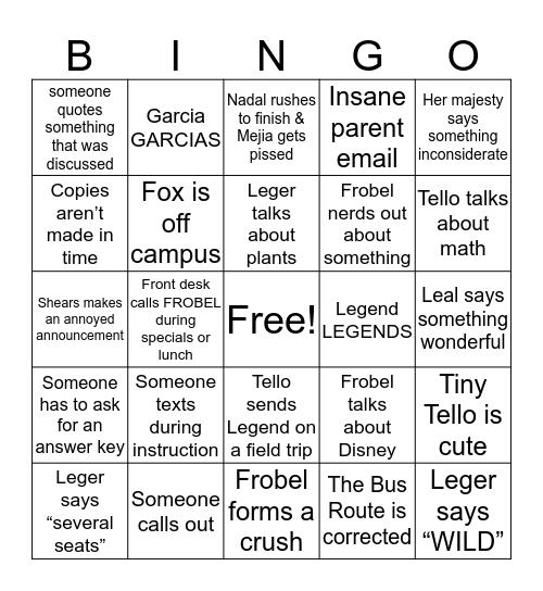 Franklin Bingo Card
