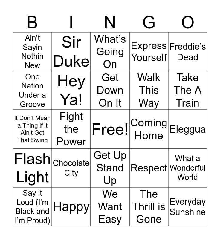 Black History Music BINGO Card