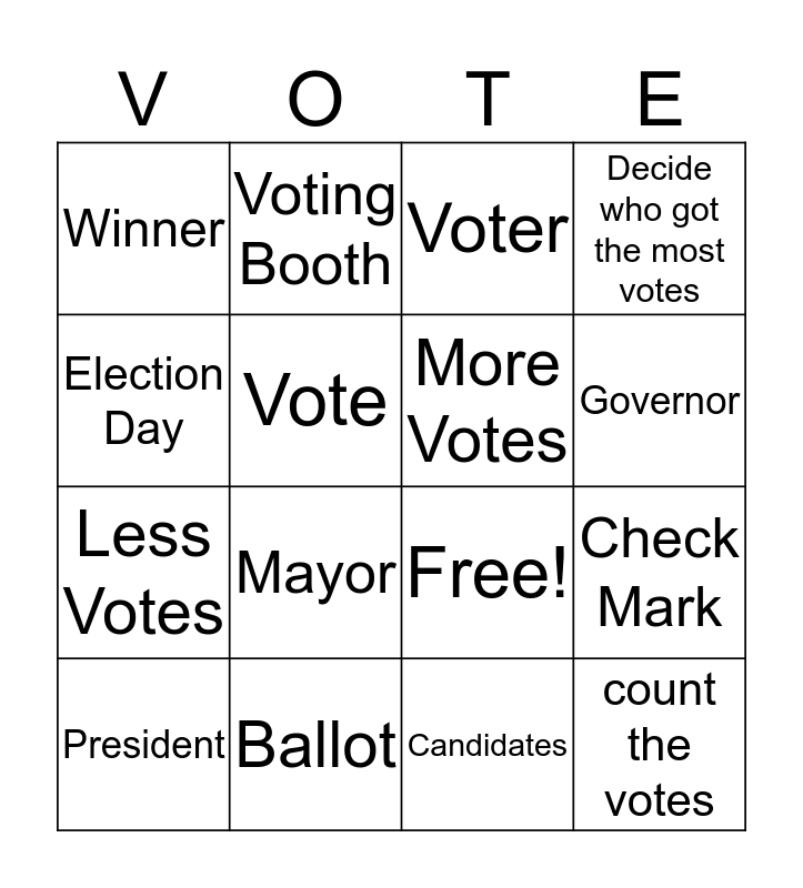 VOTING BINGO Card