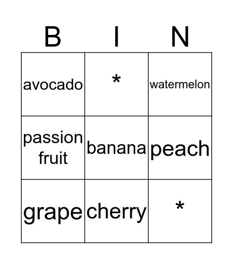 ผลไม้ Bingo Card
