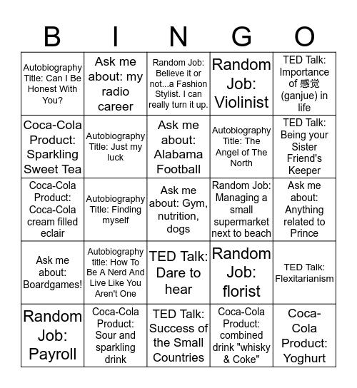 BE WELL Bingo Card