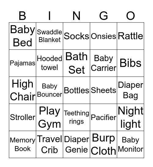 A & A's Baby Shower  Bingo Card