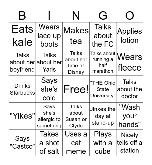 Heather Bingo Card