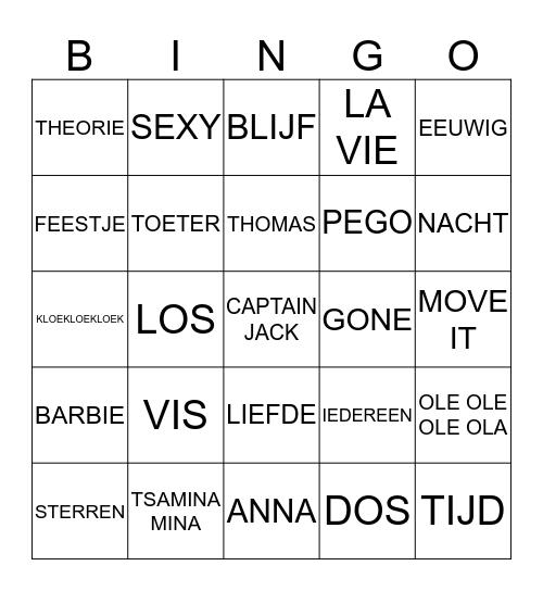 Liedjesbingo! Bingo Card