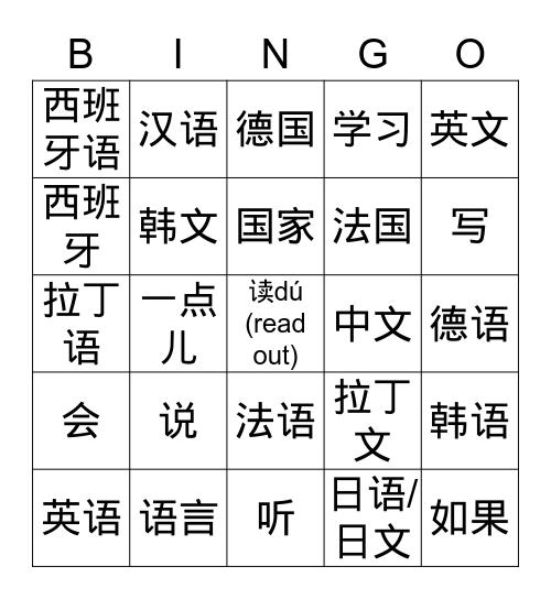 G6-L18-Languages&Countries Bingo Card