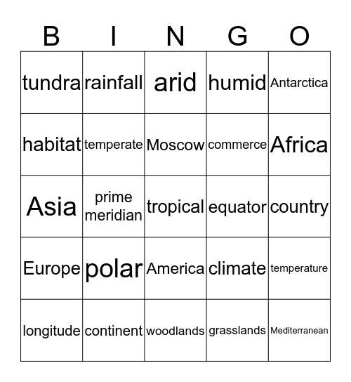 Topic Bingo Card